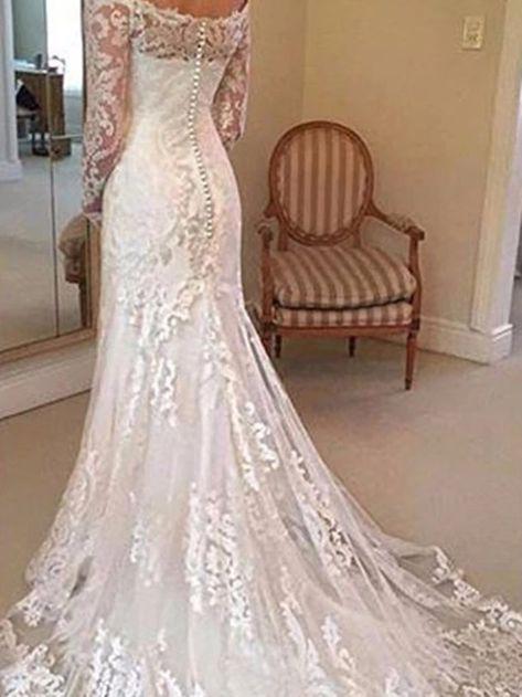 Long Sleeves Lace Court Off-The-Shoulder Garden/Outdoor Wedding Dress,  #Court #Dress #GardenOutdoor #Lace #Long #Offtheshoulder #Sleeves #wedding #weddingdresseslace