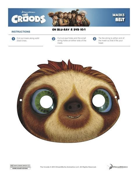 Image result for Free Printable Sloth Masks | Dinosaur mask ...