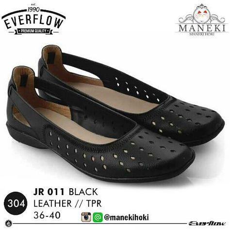 Sepatu Flat Wanita Jr 011 Original Everflow Warna Black Bahan