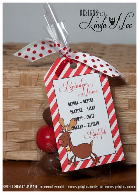 Reindeer Noses Brights Gift Tag Label by DesignsbyLindaNee