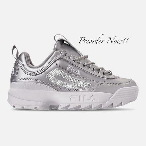 Swarovski Women's Fila Disruptor 2 Premium Silver Sneakers