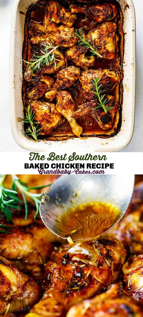 Made with a simple homemade spice rub, rich butter, caramelized onions and a hint of maple essence, my Auntie Rose's Southern Baked Chicken recipe is tender, juicy and chock-full of flavor! #chicken #bakedchicken #chickenwings #chickenlegs #southern #chickenrecipe