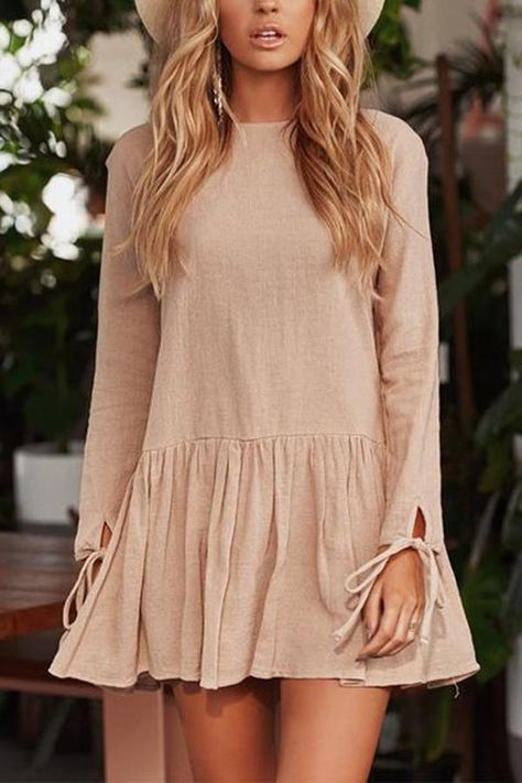 Casual Round Neck Pure Colour Long Sleeve Mini Dresses