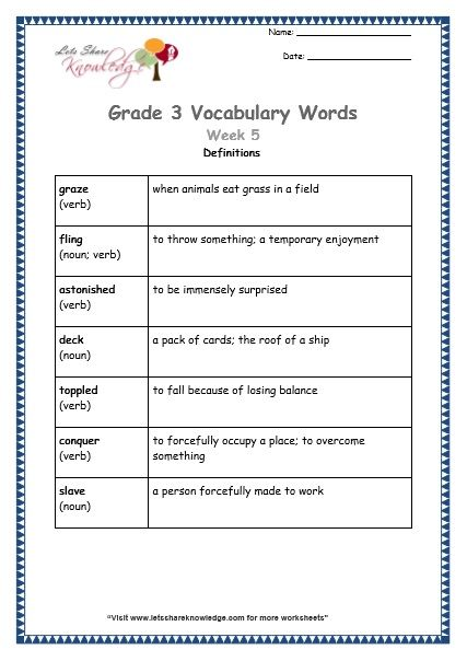 Grade 3 Vocabulary Worksheets Week 5 Definitions Vocabulary Words Dictionary Skills Vocabulary Worksheets
