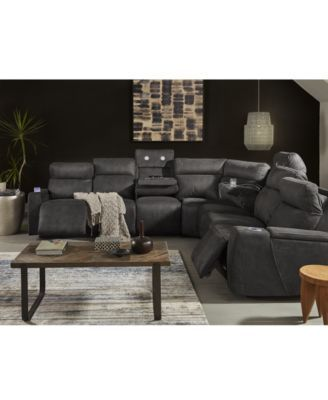 Furniture Oaklyn Fabric Leather Sectional Collection With Power