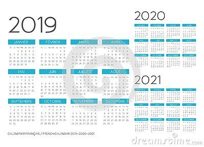 French Calendar 2019 2020 2021 Template Vector Text Is Outline
