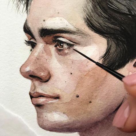 Dylan O'Brien, closer, watercolor