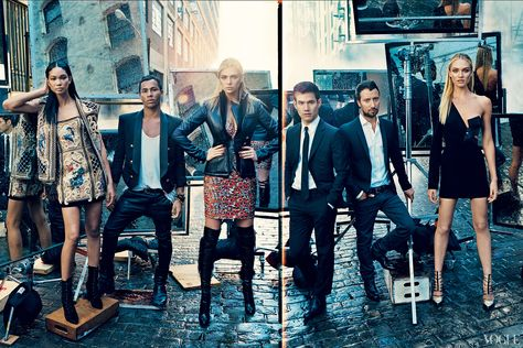 Left to right, Rousteing of Balmain, Altuzarra, and Vaccarello (with models Chanel Iman, Kate Upton, and Candice Swanepoel)  Photographed by Norman Jean Roy