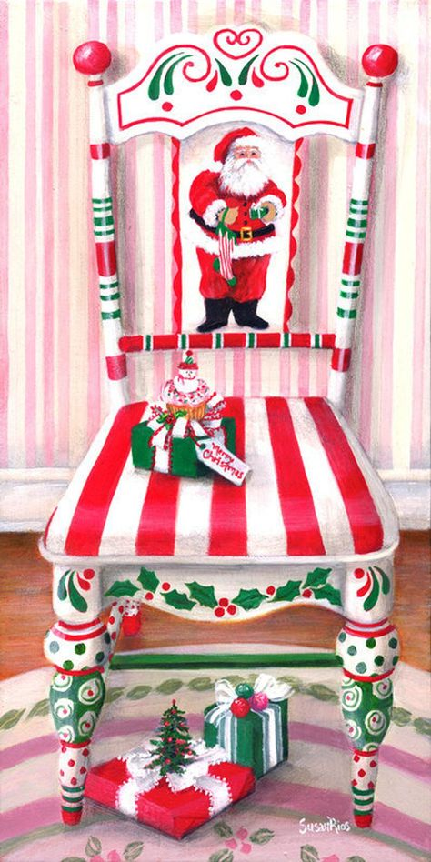 40 Top Diy Painted Chair Designs Ideas Try - Page 44 of 47 Christmas Chair, Noel Christmas, All Things Christmas, Vintage Christmas, Christmas Ornaments, Christmas Swags, Whimsical Christmas, Magical Christmas, Winter Christmas