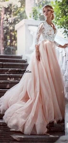 Simple V Neck Long Sleeves Lace Top A Line Blush Pink Tulle Wedding Dresses Wedding Dresses Vb0136 Pink Wedding Dresses Wedding Dresses Wedding Dresses Blush