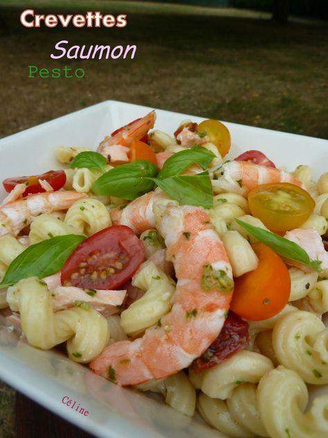 Salade de Pâtes Saumon, Crevettes et Pesto