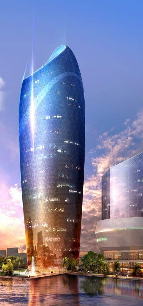 The Crescent City Office Tower Part Of The Crescent Development Project Baku Azerbaijan Desi Amazing Architecture Futuristic Architecture Unique Architecture