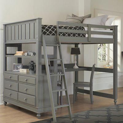 Three Posts Baby Kids Biggs 6 Drawer Solid Wood Loft Bed With Built In Desk By Three Posts Baby Kids Bed Desk Loft Bed Bed With Drawers Bunk beds with built in desks