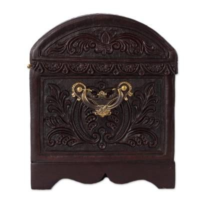 Leather And Wood Jewelry Chest Avian Treasure Leather Tooling Wood Jewellery Jewelry Chest