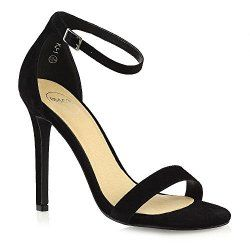 WOMENS STILETTO HEEL ANKLE BUCKLE SANDALS PEEP TOE FAUX PATENT LEATHER SHOES 3-8