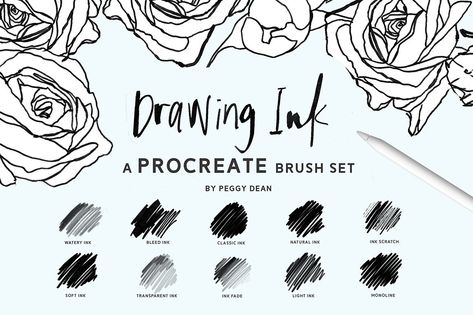 10 Drawing and Writing Ink Procreate Brushes - Variety of Ink Styles for iPad Artwork