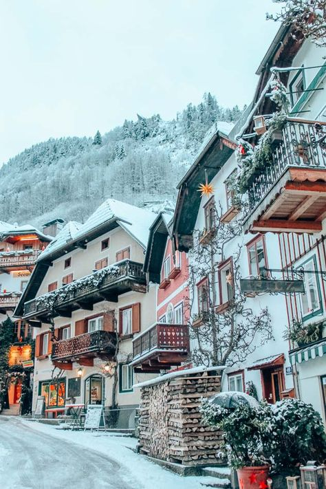 The Marketplatz in the center of Hallstatt, Austria in the winter. La Provence France, Places To Travel, Places To Visit, Travel Diys, Holiday Places, Winter Holiday Destinations, Winter Wallpaper, Austria Travel, Beaux Villages