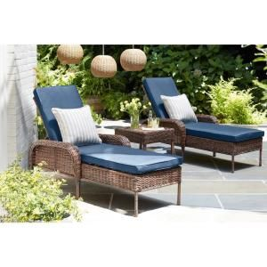Hampton Bay Cambridge Brown Wicker Outdoor Patio Chaise Lounge
