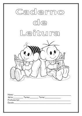 Capa Caderno De Leitura Com A Turma Da Monica Imprimir E Colorir