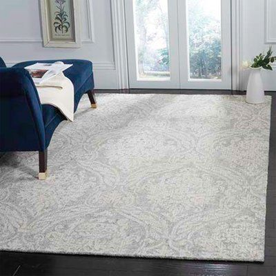 Ophelia Co Vogler Abstract Handmade Tufted Wool Gray Ivory Area Rug Rug Size Square 6 In 2020 Area Rugs Wool Area Rugs Modern Wool Rugs