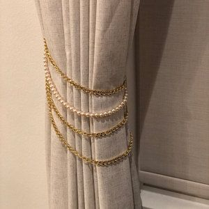 Pink And Grey Pink And Gold Curtain Tie Backs Shabby Chic Decor Tieback Blush Pink Decor Rose Gold Curtain Holdback Gold Curtains Curtain Tie Backs Pink And Gold Curtains