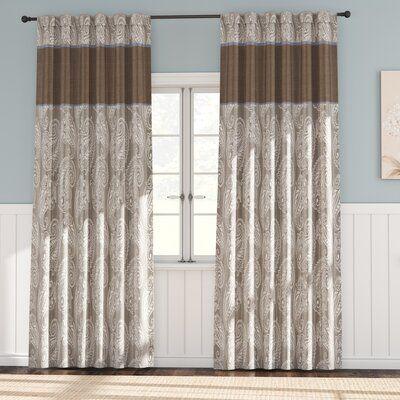 Alcott Hill Pokanoket Paisley Room Darkening Rod Pocket Curtain