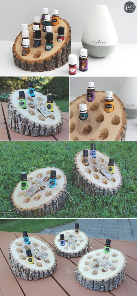 In this do-it-yourself project, you will learn how to create your own wooden rustic essential oil holder to display all of your favourite essential oils. Vetiver Essential Oil, Essential Oil Uses, Doterra Essential Oils, Essential Oil Diffuser, Essential Oil Holder, Essential Oil Storage, Young Living Oils, Young Living Essential Oils, Cedarwood Oil