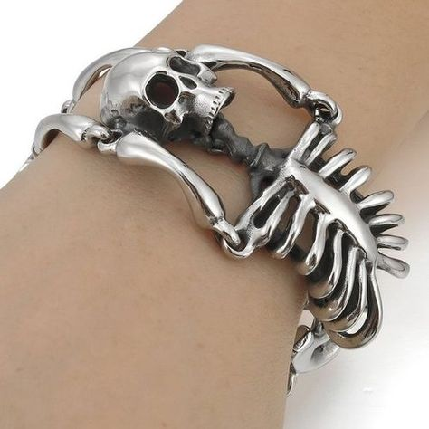 Amazon.com: Men's 316L Stainless Steel Bracelet Link Wrist Silver Black Skull Vintage: Jewelry