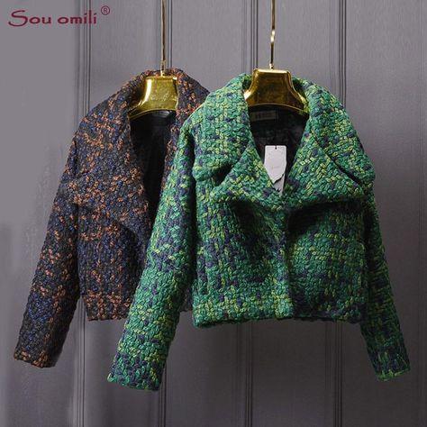 High Quality Wool Coat Women Slim Short Tweed Jacket Fashion Female Outwear Green Coat Brand Women Jacket