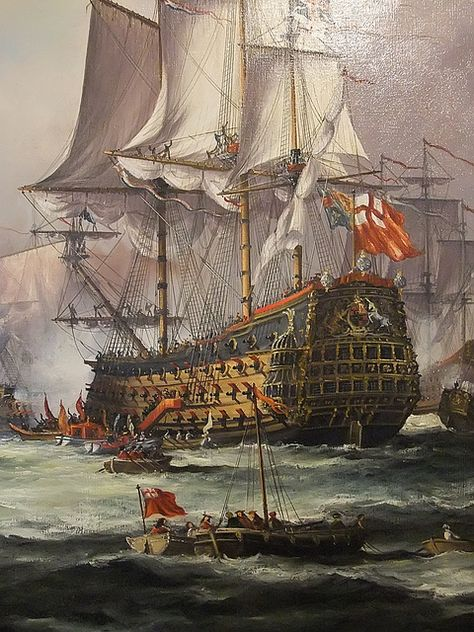 Detail of English King Charles II Receiving the Fleet After the Battle of Sole Bay 1672 by John Bentham-Dinsdale b 1927