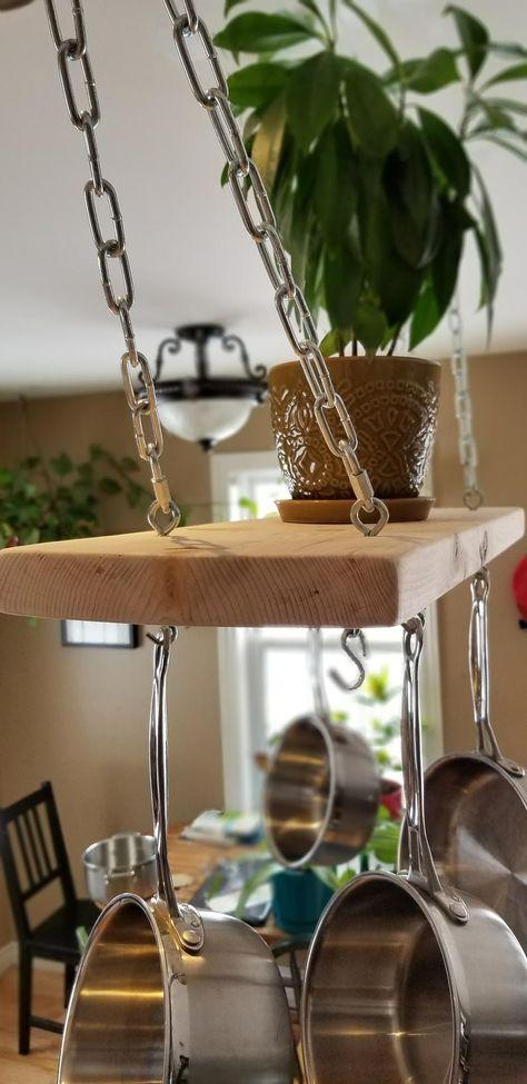 Pot Hanger Kitchen, Kitchen Island Pot Rack, Kitchen Rack, Hanging Pots Kitchen, Kitchen Window Shelves, Ceiling Shelves, Ceiling Hanging, Wood Shelves, Pan Rack Hanging