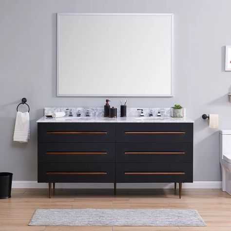 Stimpson Carrara Marble 68 Double Bathroom Vanity Set In 2020 Double Vanity Bathroom Bathroom Vanity Vanity Set