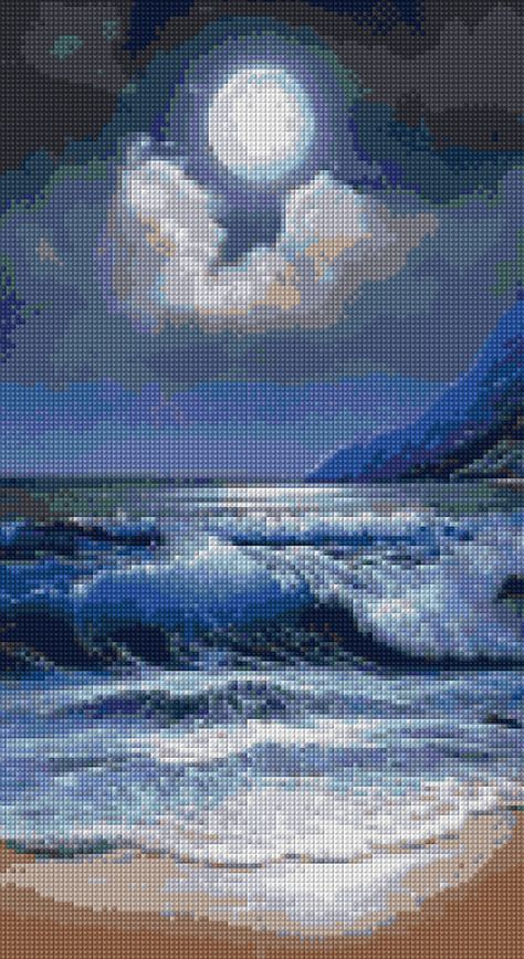 Ocean Moonlight Landscape Cross stitch pattern PDF - EASY chart with one color per sheet AND traditional chart! Two charts in one!
