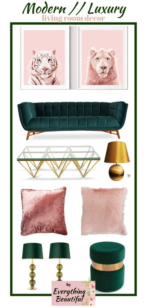 Pair blush modern wall art with a forest green velvet sofa and you'll get the living room of your dreams, add style to the space by adding gold furniture and matching decorations, don't forget to choose personal items and photos with you and your family to make it a home.Follow me at Everything Beautiful for new mood boards every day. #velvetsofa #modernlivingroom #glamlivingroom #luxurylivingroom #velvetpillows 03//02//2019 by Everything Beautiful