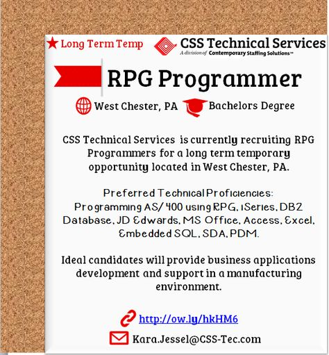 CSS Tech is #Hiring Sr Programmer \/ Analyst $80-$110,000 King - rpg programmer resume