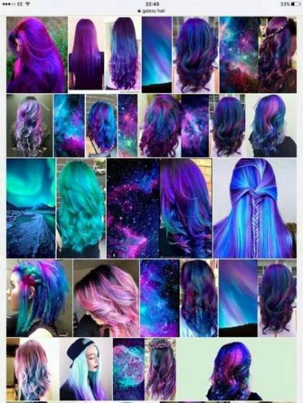 17 Ideas For Hair Color Ombre Tumblr Hair Galaxy Hair Color
