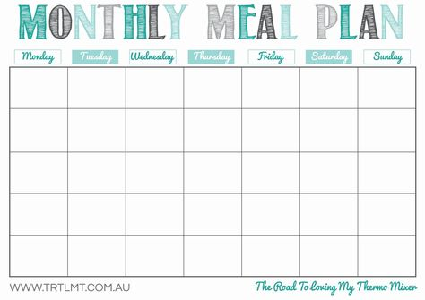 Meal Planning Calendar Printable Lovely Blank Monthly Meal Planning