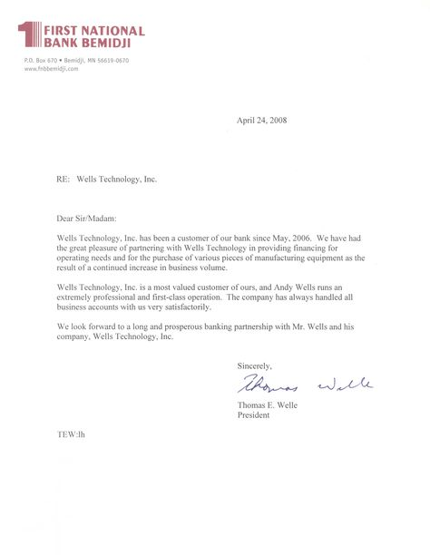 Request Letter For Bank Certification Wells Technology Inc