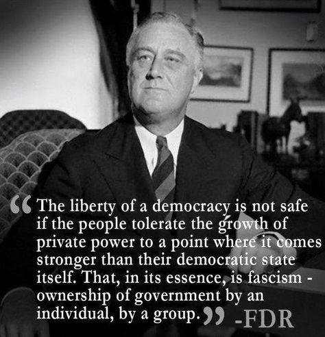 """""""The liberty of a democracy is not safe if the people tolerate the growth of private power to a point where it comes stronger than their democratic state itself. That in its essence, is fascism - ownership of government by an individual, by a group."""" - FDR"""