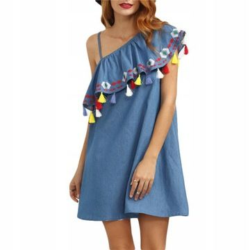 Tunika Sukienka Na Jedno Ramie Z Fredzlami M 8149027735 Oficjalne Archiwum Allegro Boho Summer Dresses Mini Shift Dress Embroidered Dress