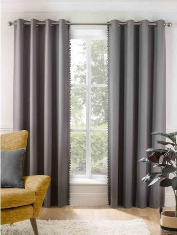 Grey Cosy Pom Pom Thermal Lined Eyelet Curtains Ponden Home Upholstery Bed Large Furniture Pom Pom Curtains