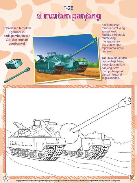 Mewarnai Kendaraan Perang Tank T28 Ebook Anak Perang Buku