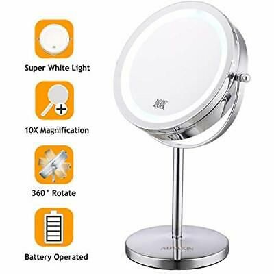 Advertisement Lighted Makeup Mirror 7 Led Vanity 10x Magnifying Doub Makeup Mirror With Lights Lighted Magnifying Makeup Mirror Wall Mounted Makeup Vanity