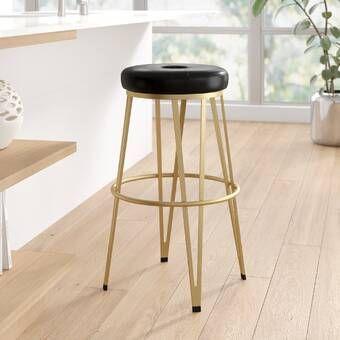Maureen Swivel Solid Wood Adjustable Height Bar Stool With Images Bar Stools Modern Bar Stools Backless Bar Stools
