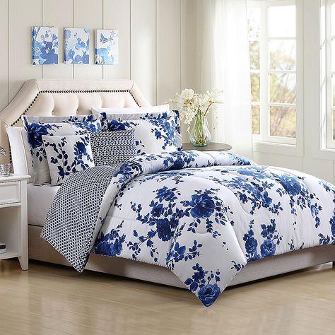 Bella Reversible Full Queen Comforter Set In White In 2020