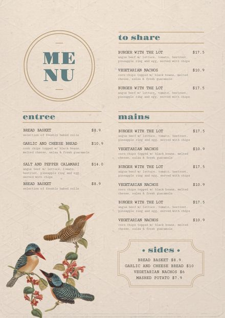 Vintage style Menu Template with Illustrated Birds - Easil