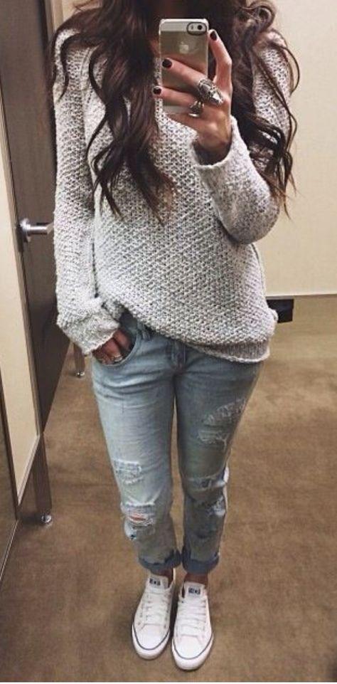 Jeans + sweater. Super cute.
