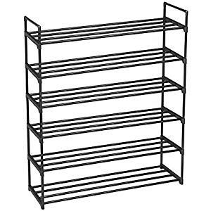 Songmics 6 Level Shoe Rack Made Of Metal For Up To 30 Pairs Of Level Metal Pairs Son Schuhaufbewahrung Schuhregal Regal