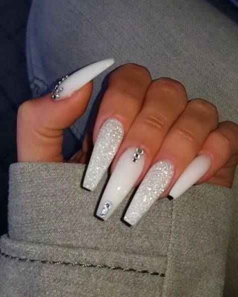 If you have problem with long nails, then try Acrylic Nails or artificial nails. Listed below are the Best Acrylic Nails Ideas for 2019 to take inspiration. Bling Acrylic Nails, White Coffin Nails, Acrylic Nails Coffin Short, Polygel Nails, Glam Nails, Best Acrylic Nails, White Acrylic Nails With Glitter, Rhinestone Nails, White Acrylics