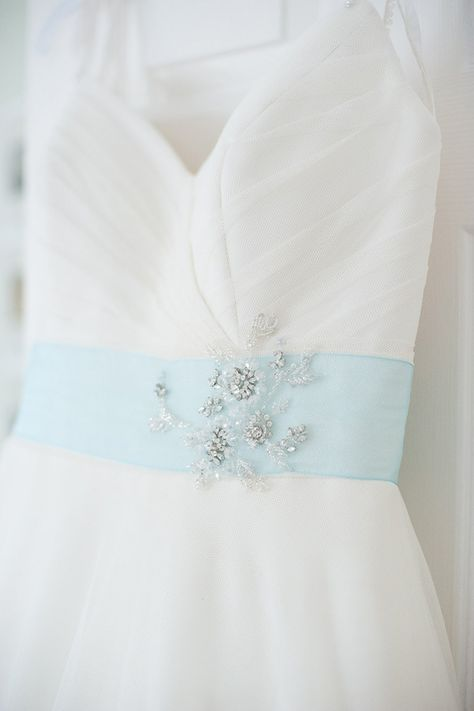 Blue and White Wedding Ideas - Quirky Colourful Blue Barn Wedding Blue Sash Dress http://fionasweddingphotography.co.uk/